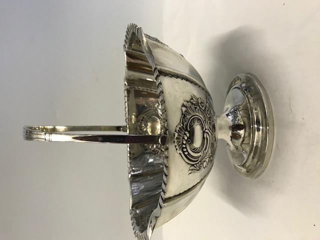 Antique Walker & Hall silver plated candy bon bon dish on a pedestal base with swing handle (c.1900)