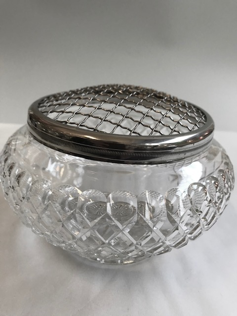 Vintage cut crystal rose bowl mounted with a silver plated frog for holding roses or flowers