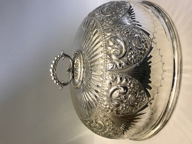 Antique Victorian large elaborately embossed silver plated meat cover dome (c.1880)