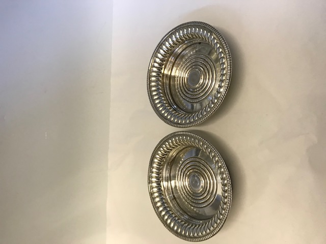 Pair of Old Sheffield Plate Wine Coasters or Decanter Stands