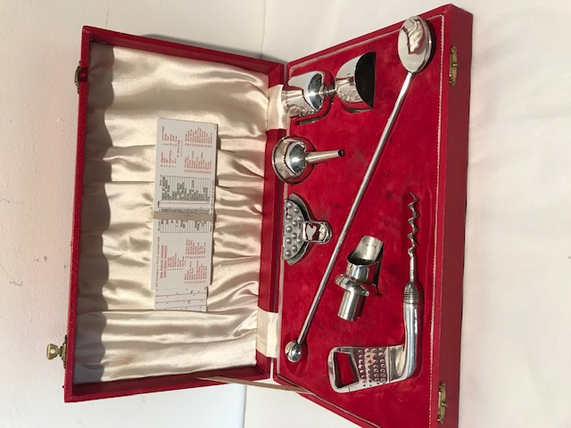 Boxed Vintage Silver Plated Bar Cocktail Tools Set