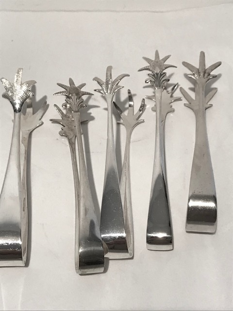 Selection of Antique Silver Plated Ice Tongs