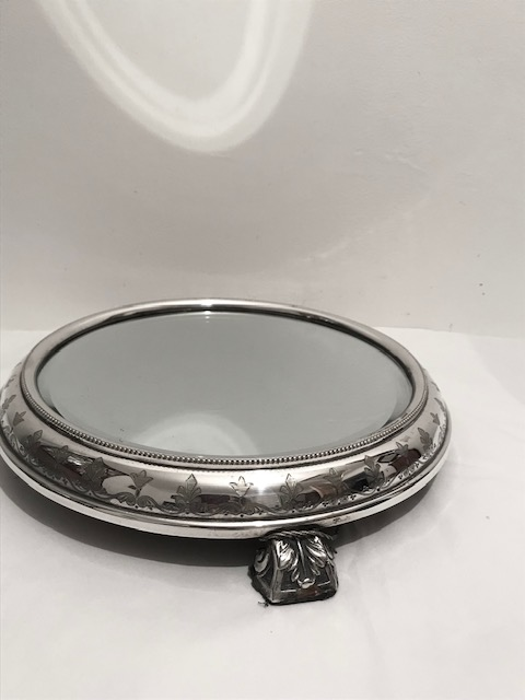Antique Silver Plated Mirror Plateau for a Centrepiece or a Cake