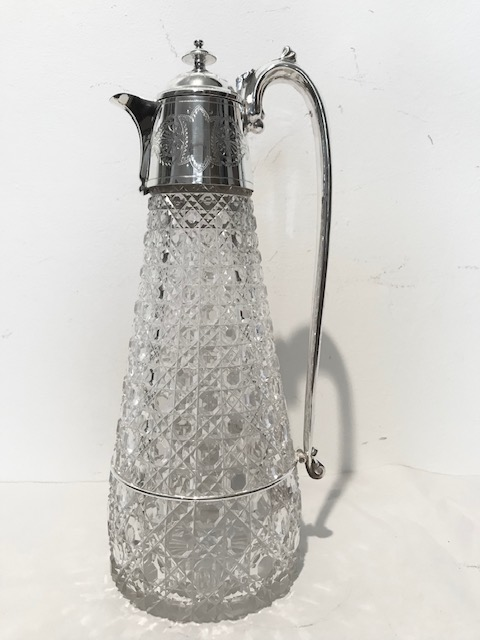 Handsome Antique Silver Plated and Cut Glass Claret Jug