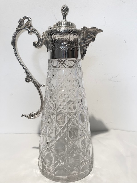 Silver Plated and Cut Glass Claret Jug with Swans Head Handle