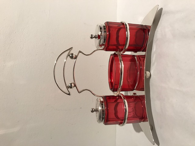 Crescent Shaped Antique Silver Plated Cruet with 3 Ruby Glass Bottles
