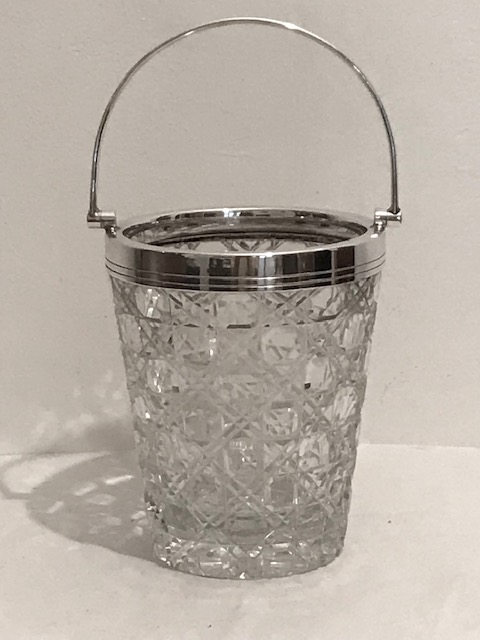 Vintage Silver Plated and Glass Ice Pail Bucket