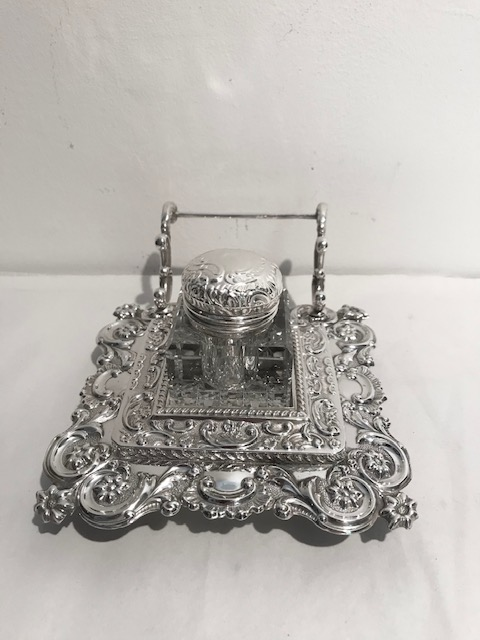 Antique Silver Plated Ink Stand Elaborately Embossed and with Cut Glass Inkwell