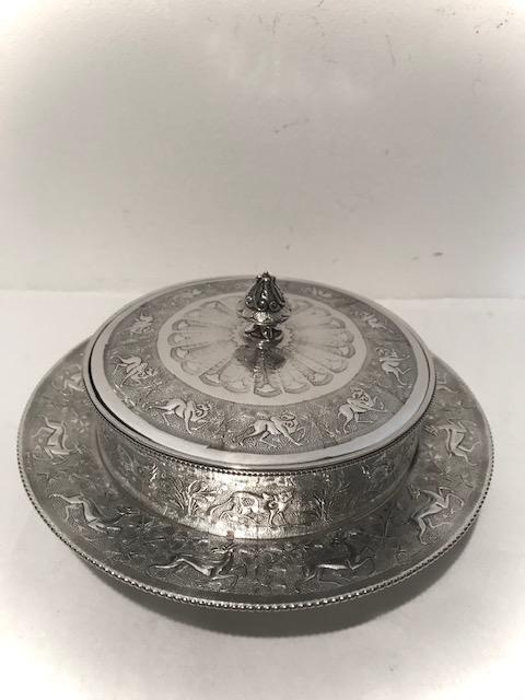 Silver Plated Butter Jam or Preserve Dish with Frosted Glass Liner