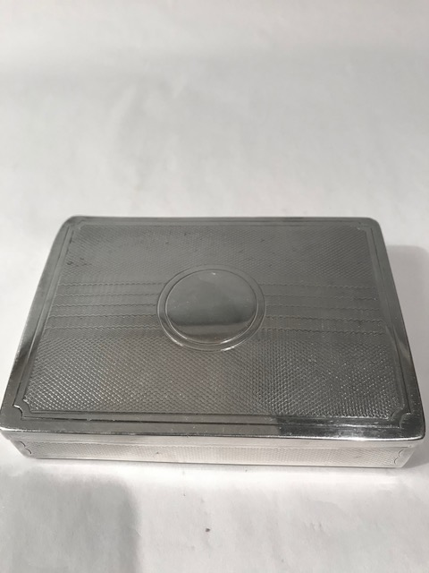 Antique silver plated travelling sandwich box with beautiful engine turned decoratio