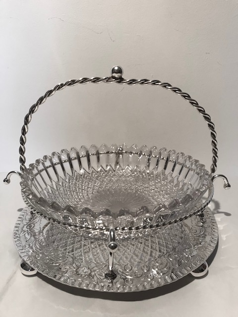Large Antique Silver Plated and Glass Bowl in Stand