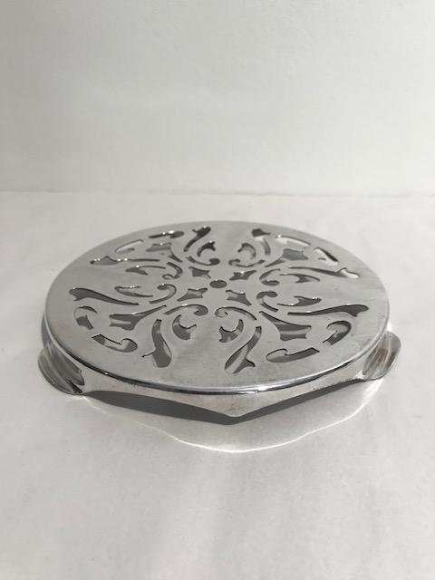 Vintage Silver Plated Teapot Stand with a Stylish Pierced Design