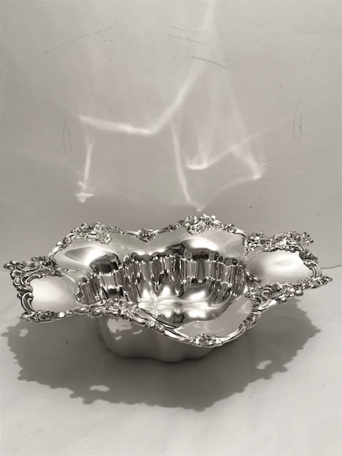 Victorian Silver Plated Bowl with Wavy Edged Wide Top