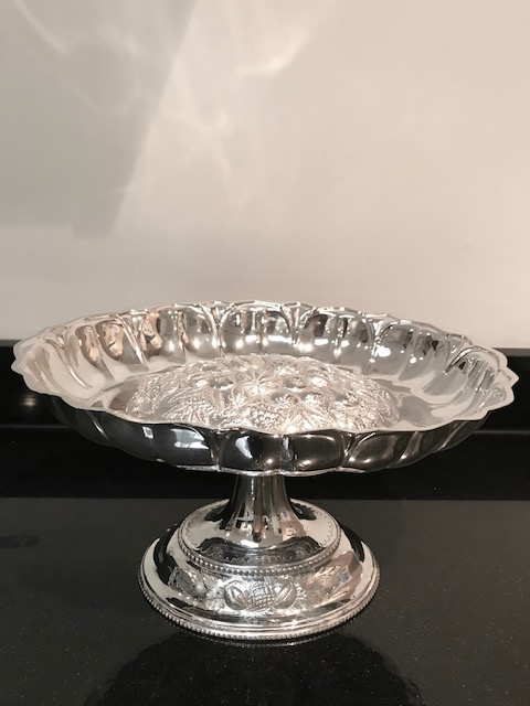 Oval Victorian Silver Plated Fruit Comport Dish