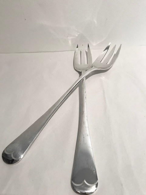 Pair of Antique Old English Pattern Silver Plated Serving Forks