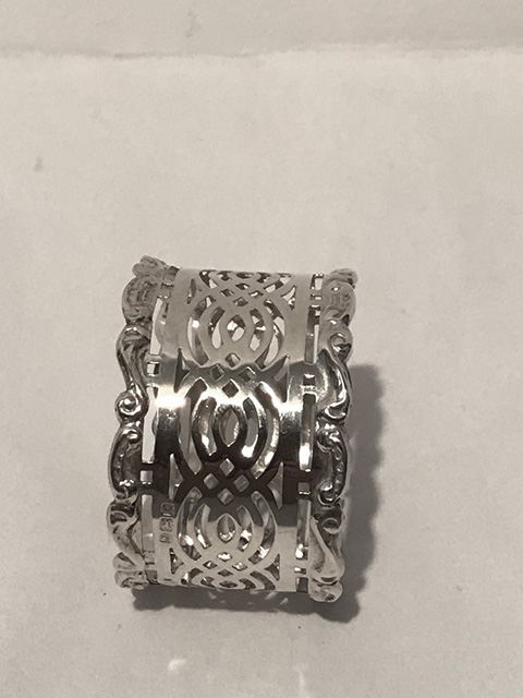 William Devenport Solid Silver Napkin Ring with Pierced Sides