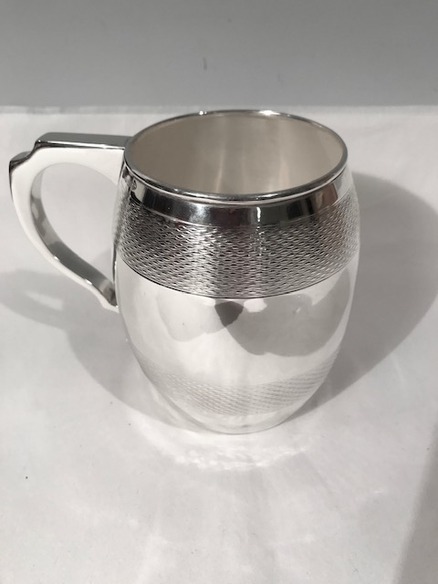 Antique silver plated barrel shaped pint tankard