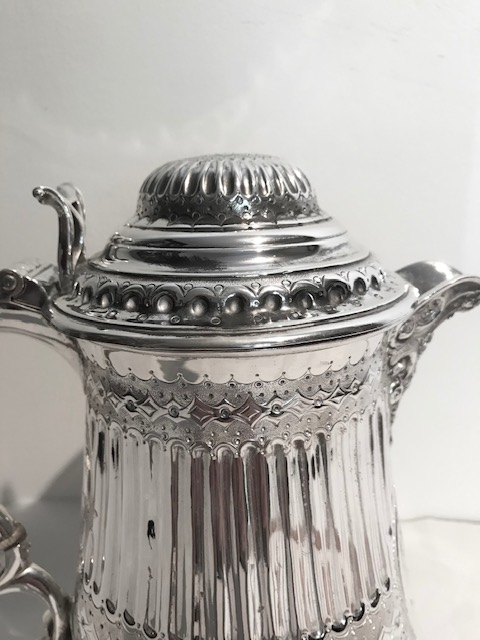 Large Victorian Antique Silver Plated Lidded Flagon or Tankard