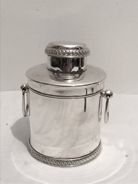 Antique Silver Plated Tea Caddy of Conical Form and Two Looped Handles