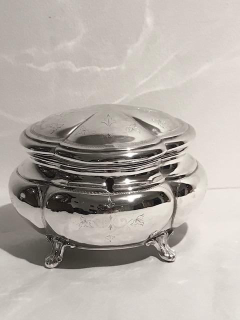 Roberts & Belk Antique Silver Plated Tea Caddy on Four Fancy Feet