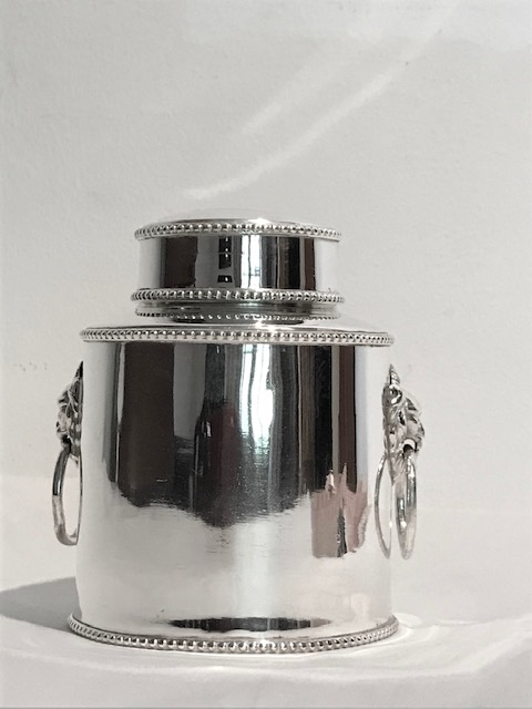 Victorian Cylindrical Silver Plated Tea Caddy