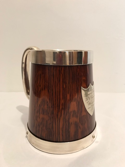 Victorian Silver Plated and Wood One Pint Tankard